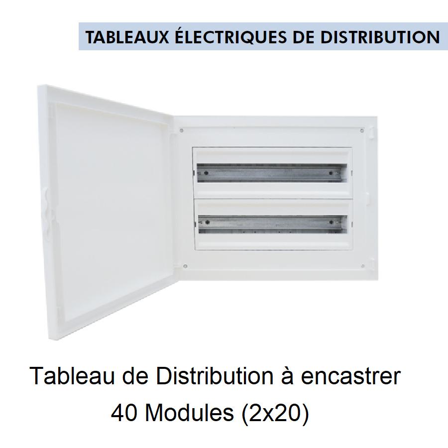 Tableau de Distribution à Encastrer Complet - 40 Modules (2x20)