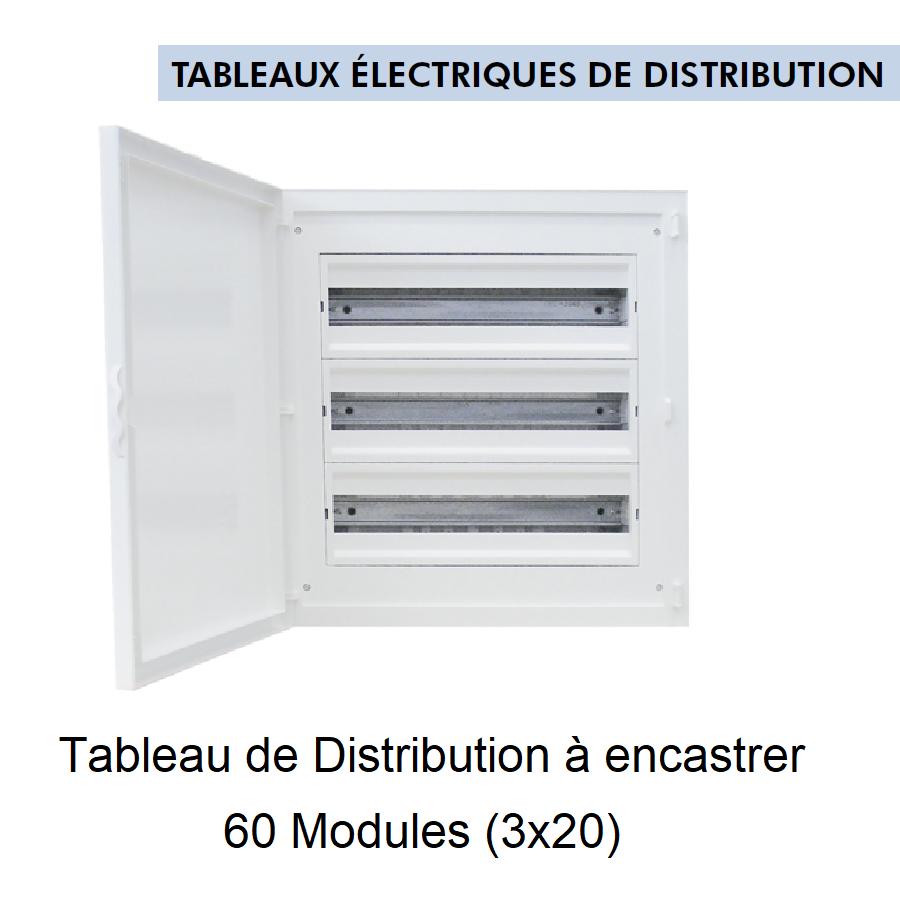Tableau de Distribution à Encastrer Complet - 60 Modules (3x20)
