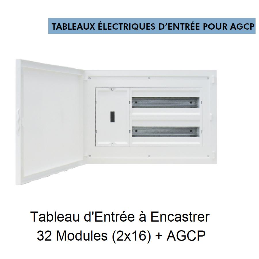 Tableau d\'Entrée à Encastrer Complet - 32 Modules (2x16) + DCP