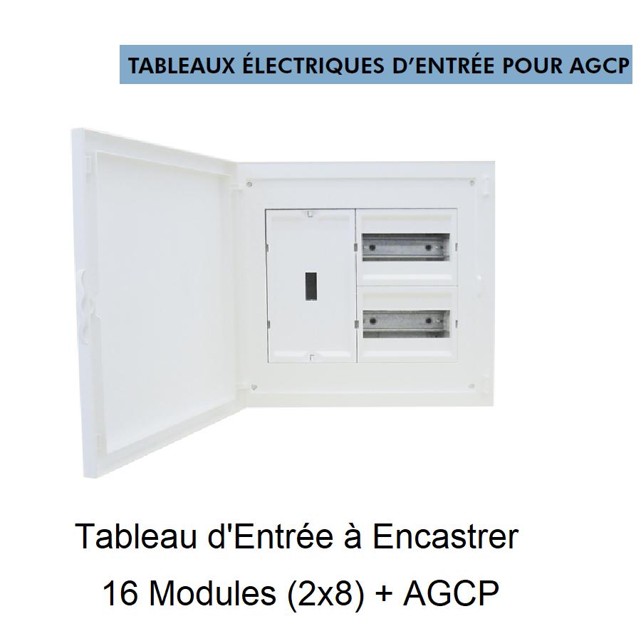 Tableau Electrique à Encastrer Complet - 16 Modules (2x8) + DCP