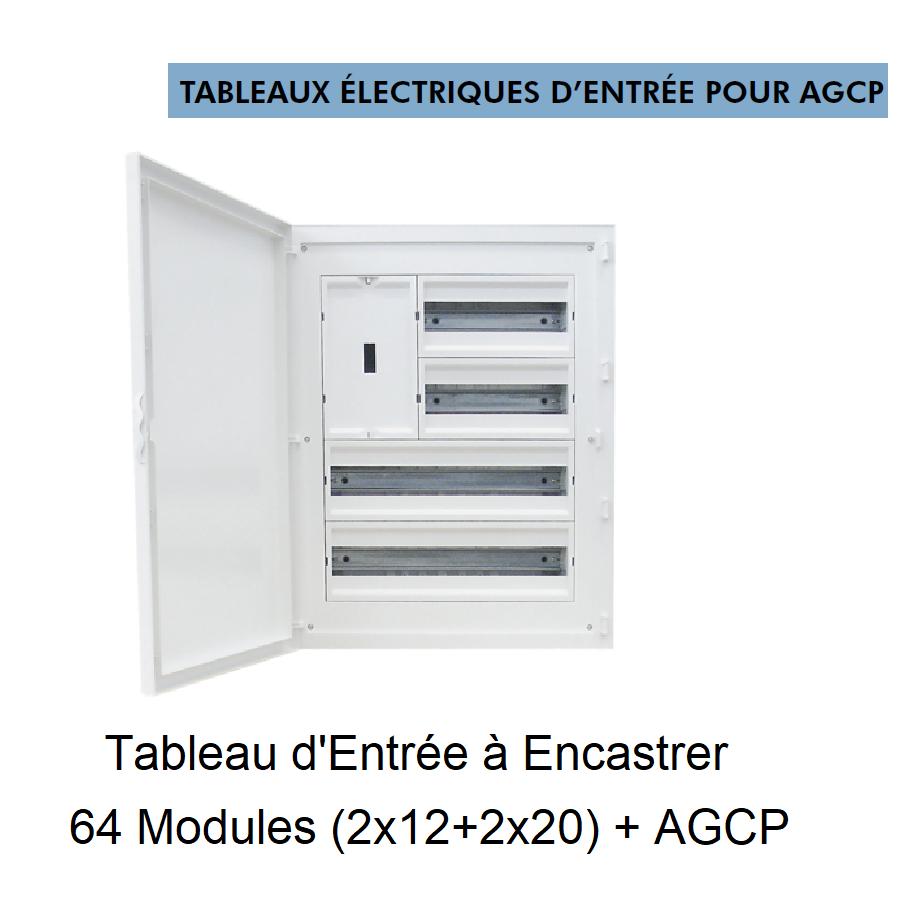 Tableau d\'Entrée à Encastrer Complet - 64 Modules (2x12+2x20) + DCP