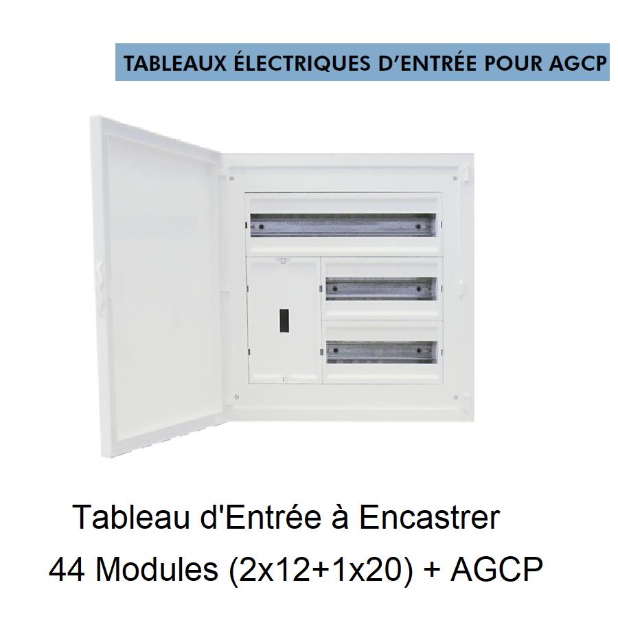 Tableau d\'Entrée à Encastrer Complet - 44 Modules (2x12+1x20) + DCP