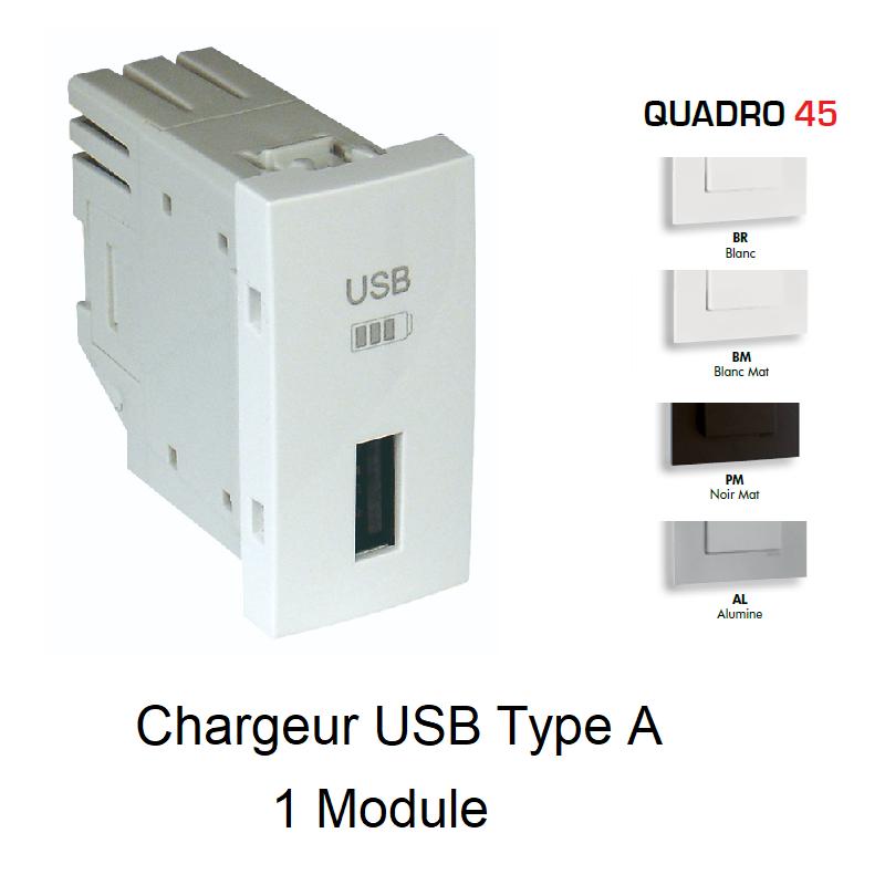 Chargeur USB Type A - 1 Module Quadro 45