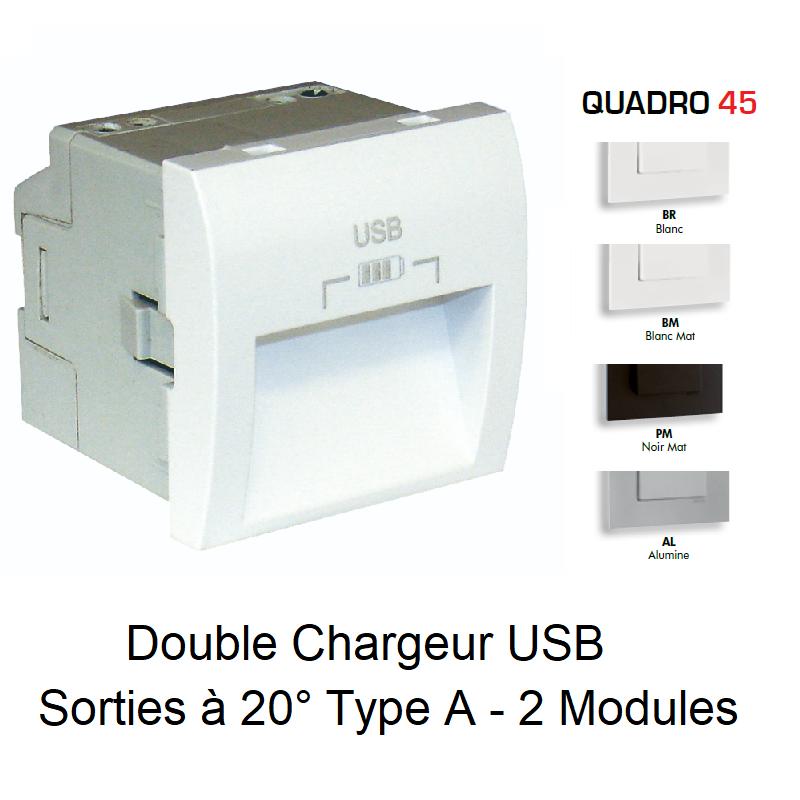Double Chargeur USB Sorties à 20° Type A - 2 Modules Quadro 45