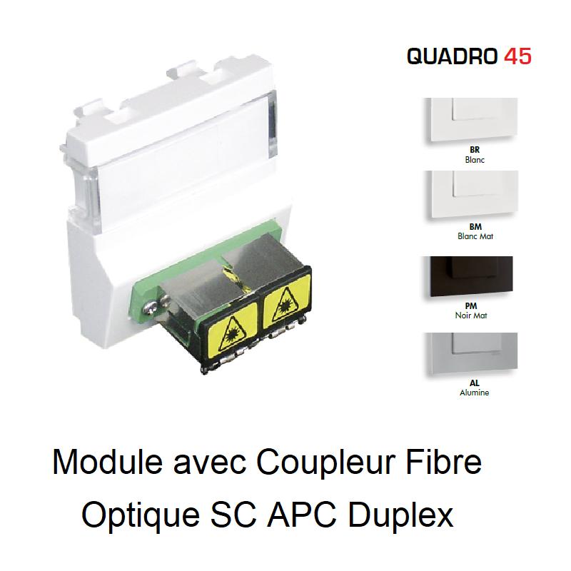 Module avec Coupleur Fibre Optique SC APC Duplex Quadro 45 - 2 Modules