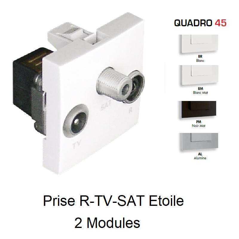 Prise R-TV-SAT Etoile - 2 Modules QUADRO 45