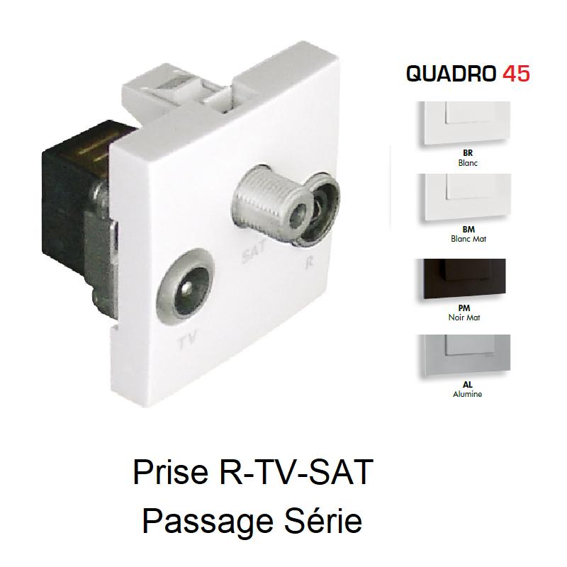 Prise R-TV-SAT Passage Série - 2 Modules QUADRO 45