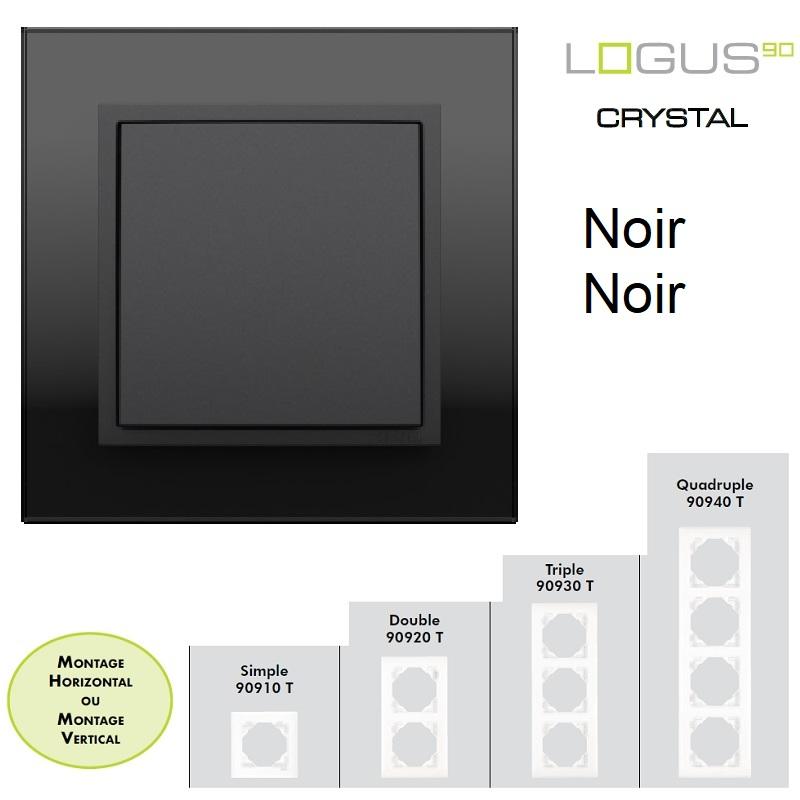 Plaque Verre LOGUS90 - Crystal Noir/Noir