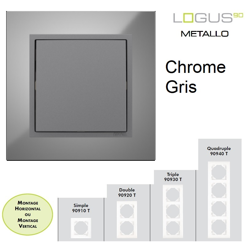 Plaque LOGUS90 METALLO - Chrome/Gris