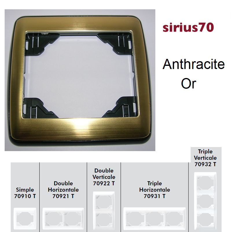 Plaque Sirius70 Métal - Anthracite/Or