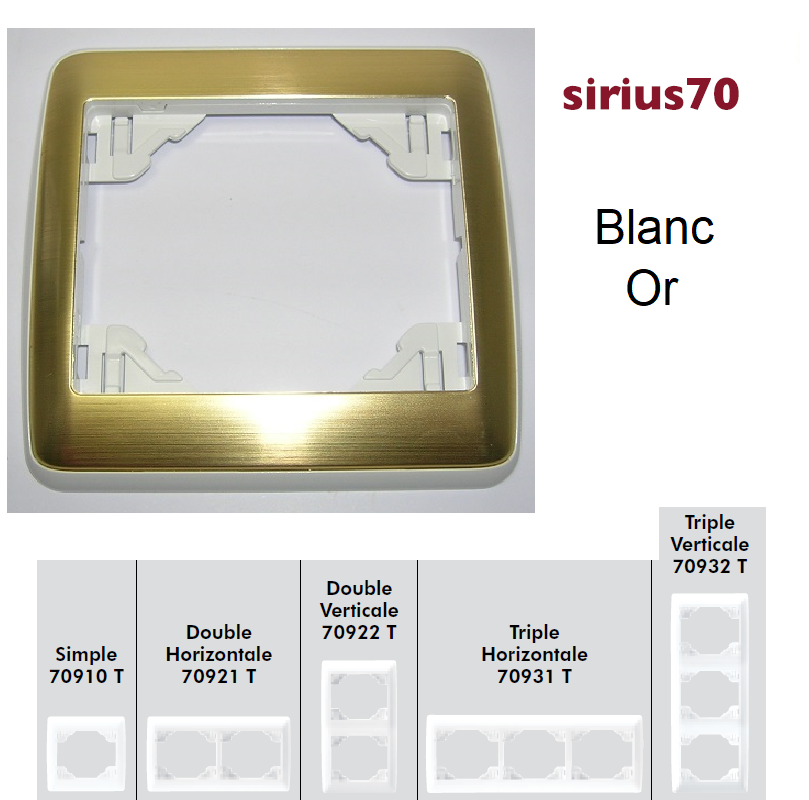 Plaque Sirius70 Métal - Blanc/Or