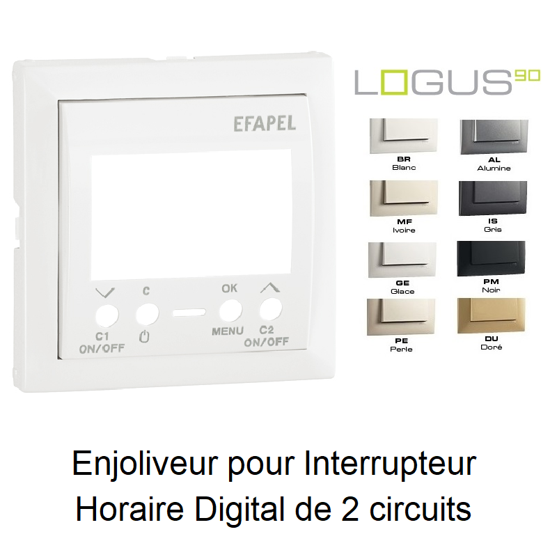 Enjoliveur pour Interrupteur Horaire Digital de 2 circuits - LOGUS90