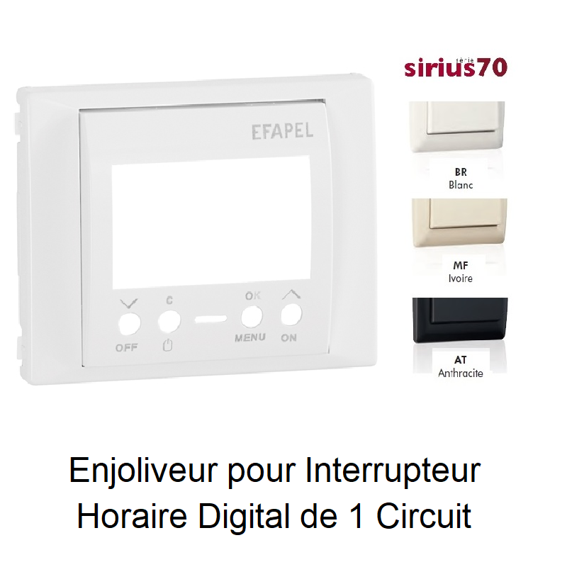 Enjoliveur Interrupteur Horaire Digital 1 circuit - Sirius70