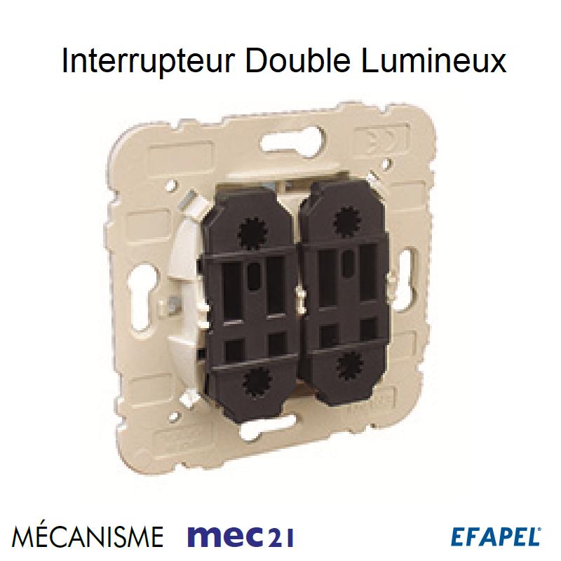 Mécanisme Interrupteur Double Unipolaire Lumineux