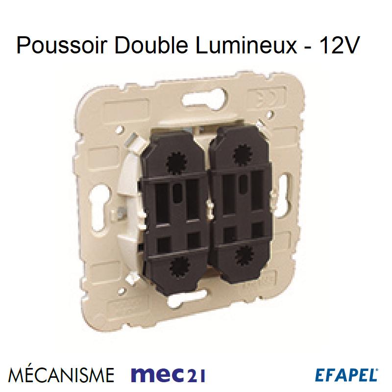 Mécanisme Poussoir à Bascule Double Lumineux - 12V