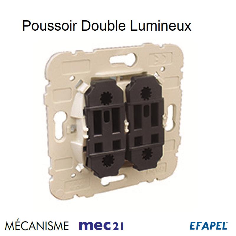 Mécanisme de Poussoir à Bascule Double Lumineux - 250V~