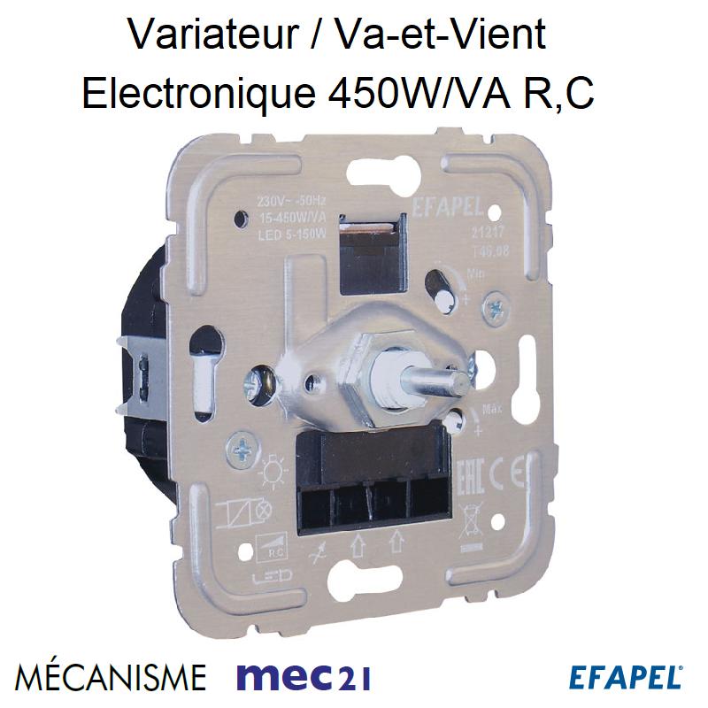 Mécanisme de Variateur/Va-et-Vient Electronique Lampes Basse Consommation 450W/VA R,C