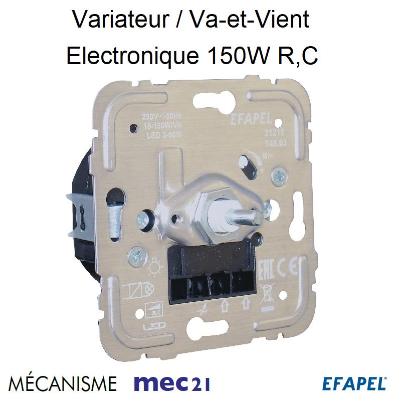 Mécanisme Variateur Va-et-Vient Electronique pour lampes basse consommation 150W R, C mec21