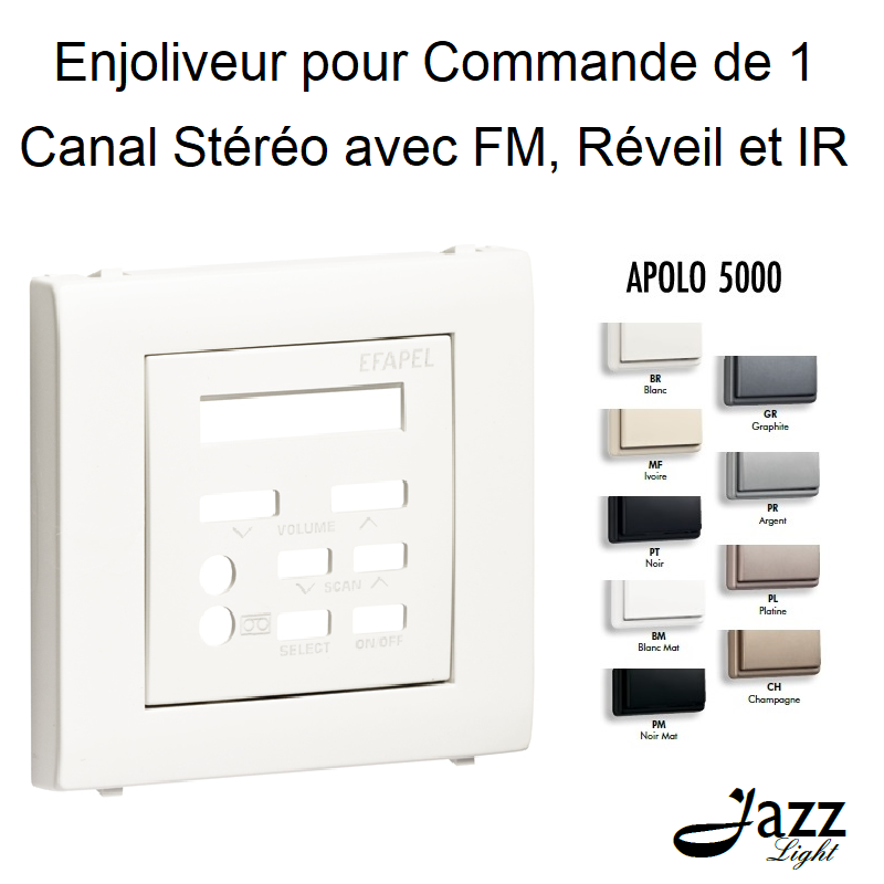 Enjoliveur pour Commande de 1 Canal Stéréo avec FM, Réveil et IR - APOLO 5000