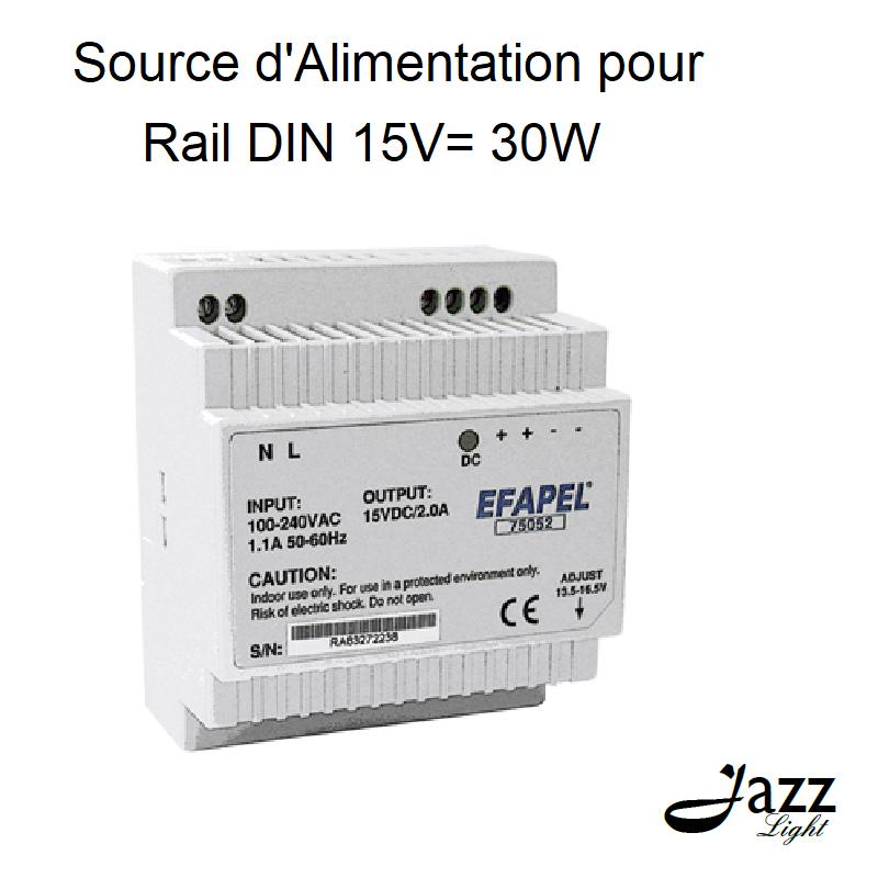 Source d\'Alimentation pour Rail DIN 15V= 30W