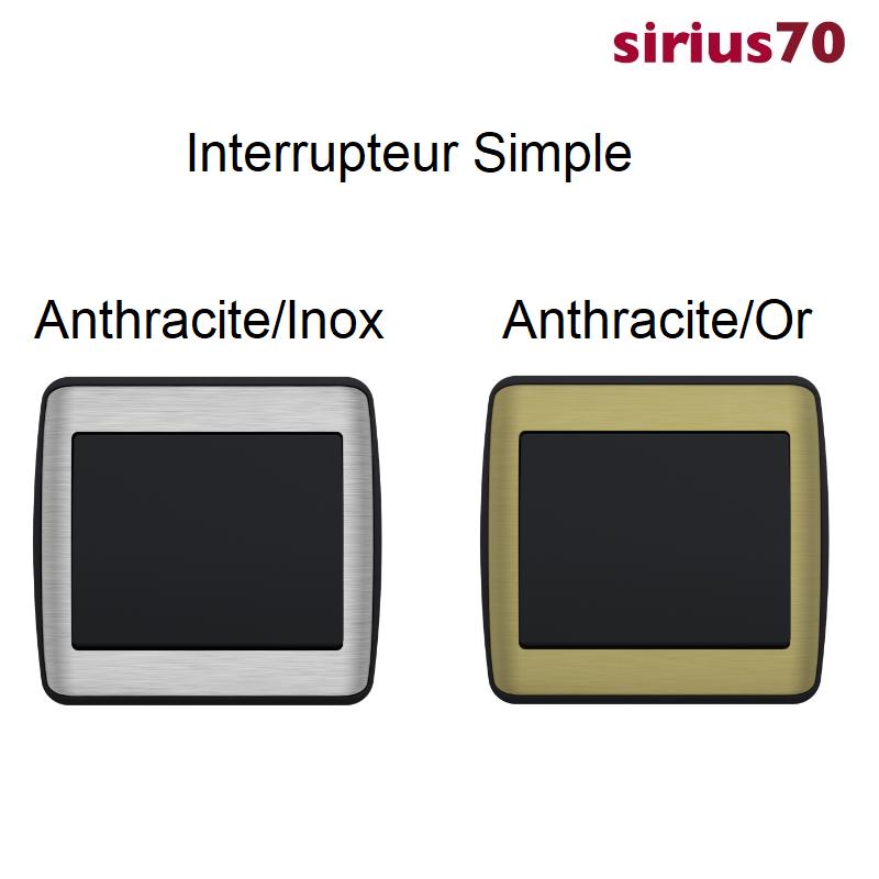 Interrupteur sirius70 Métal/Anthracite Complet