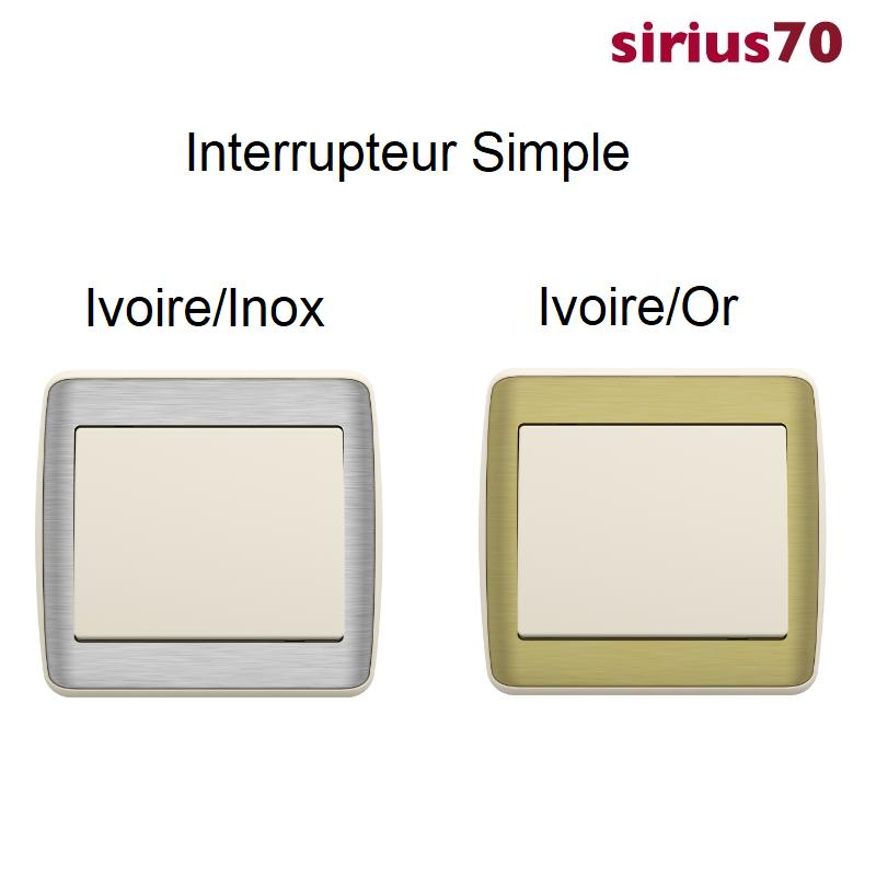 Interrupteur sirius70 Métal / Ivoire Complet