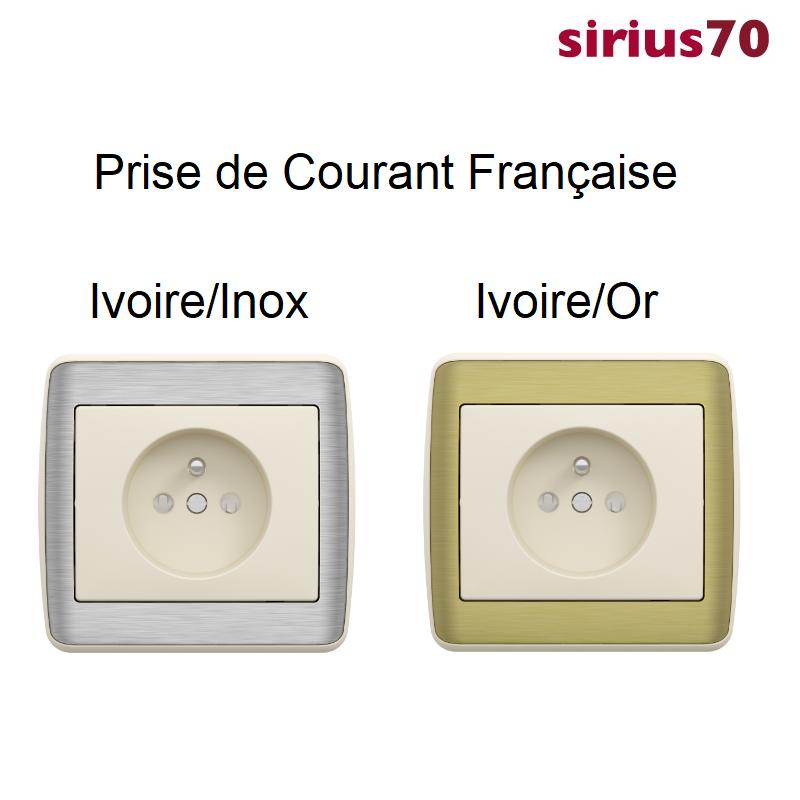 Prise de courant 2P+T sirius70 Métal - Inox ou Or avec enjoliveur Ivoire