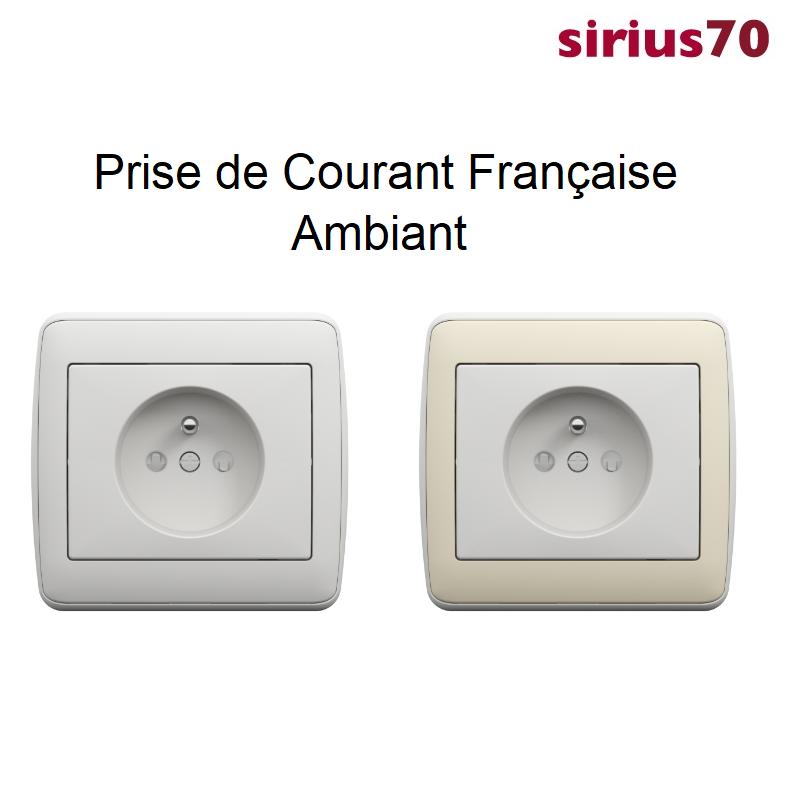 Prise de courant 2P+T sirius70 Ambiant Blanc et Ivoire - Complet