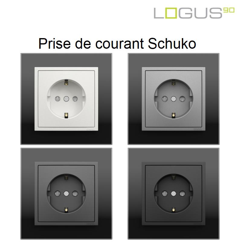 Prise de courant Schuko - Logus90 CRYSTAL NOIR