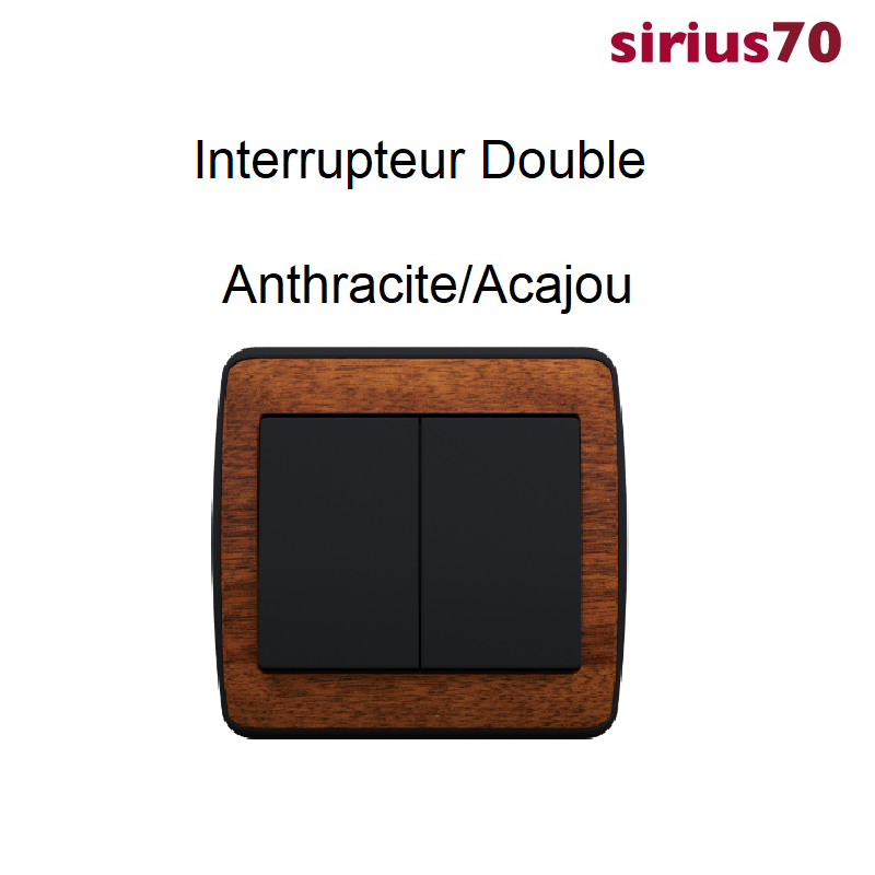 Interrupteur Double Sirius 70 BOIS - Anthracite
