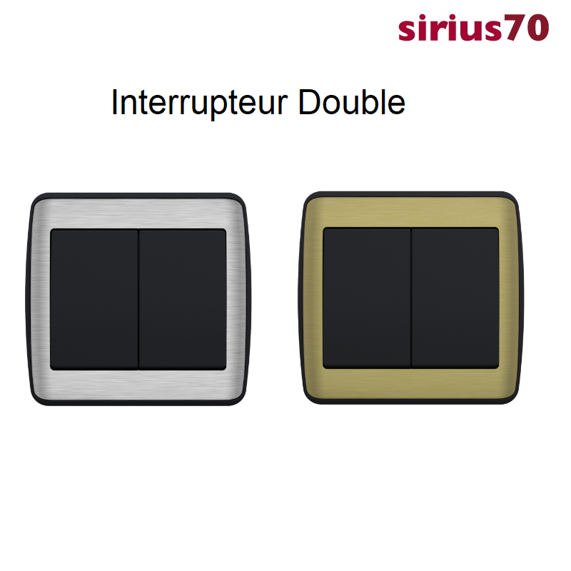 Interrupteur Double Sirius 70 - Anthracite METALLO