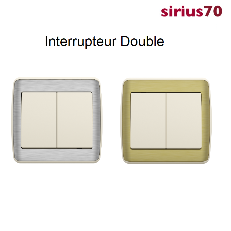 Interrupteur Double Sirius 70 - Ivoire METALLO