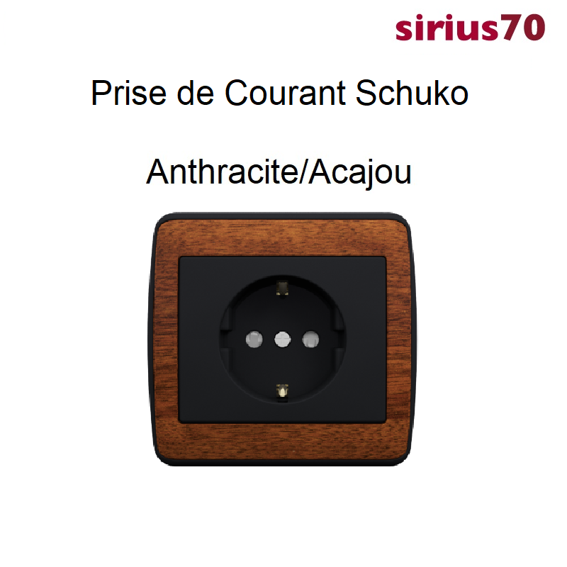 Prise de Courant Schuko Sirius 70 - BOIS Anthracite / Acajou