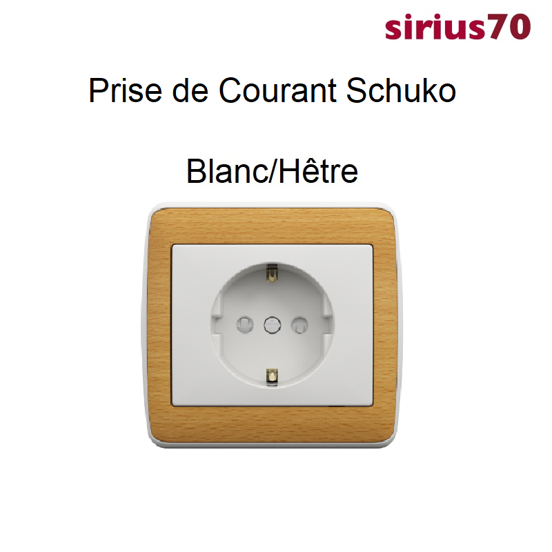 Prise de Courant Schuko Sirius 70 - BOIS Blanc/Hêtre