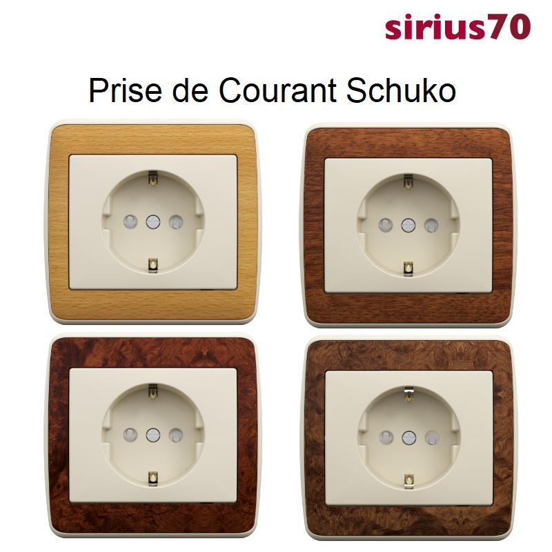 Prise de Courant Schuko Sirius 70 - BOIS / Ivoire