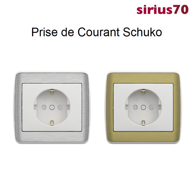 Prise de Courant Schuko Sirius 70 - METALLO Blanc