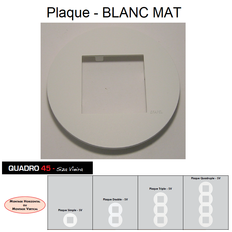 Plaque Ronde QUADRO45 Siza Vieira - Blanc MAT