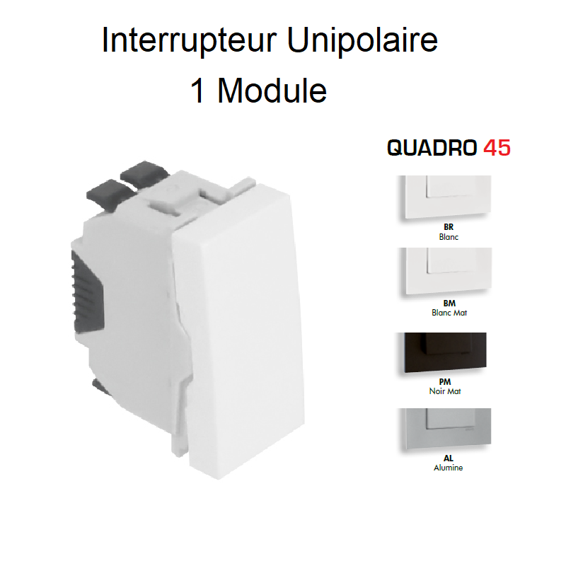 Interrupteur Unipolaire Semi-Assemblé QUADRO45 - 1 Module