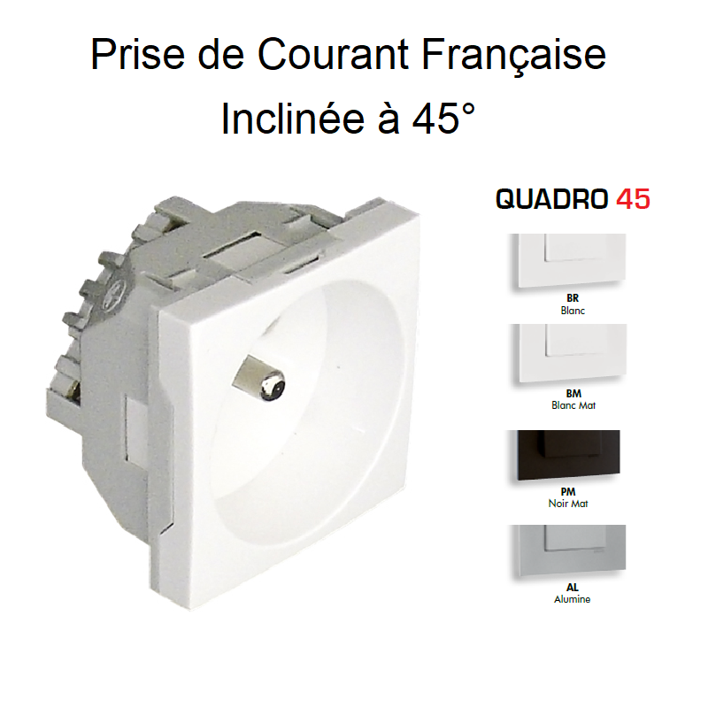 Prise de courant 2P+T Semi-Assemblée Quadro45 - Inclinée 45° - 2 Modules