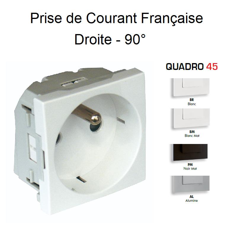 Prise de courant 2P+T avec protection - Droite 90° - QUADRO45