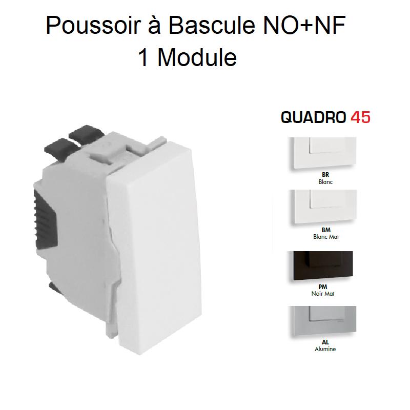 Poussoir à Bascule (NO+NF) Semi-Assemblé - 1 Module QUADRO 45