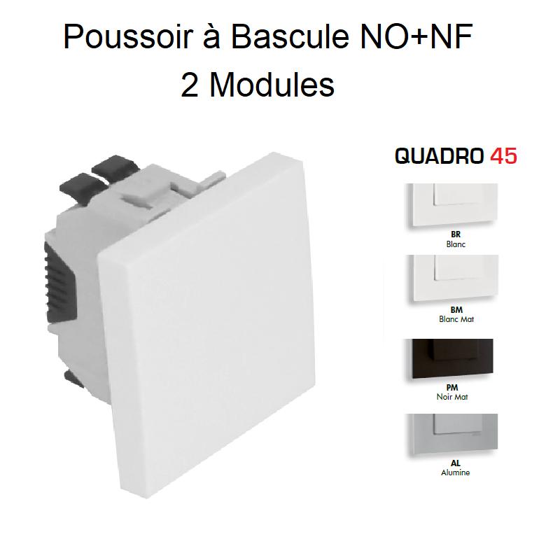 Poussoir à Bascule (NO+NF) Semi-Assemblé - 2 Modules QUADRO 45