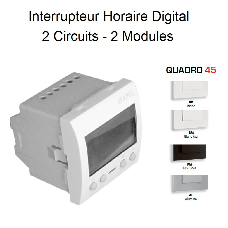 Interrupteur Horaire Digital 2 Circuits - 2 Modules QUADRO 45
