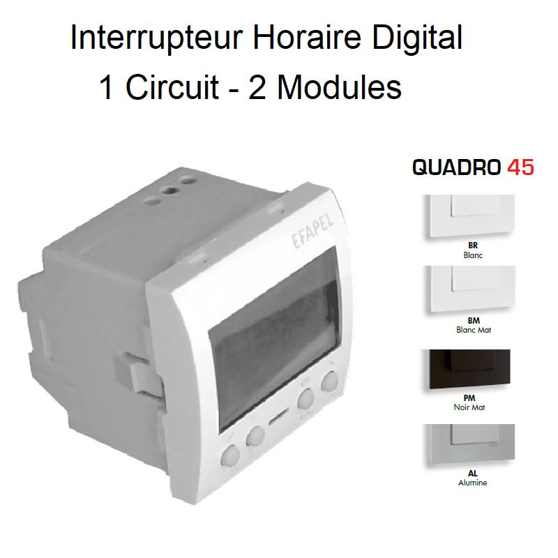 Interrupteur Horaire Digital 1 Circuit - 2 Modules Quadro 45