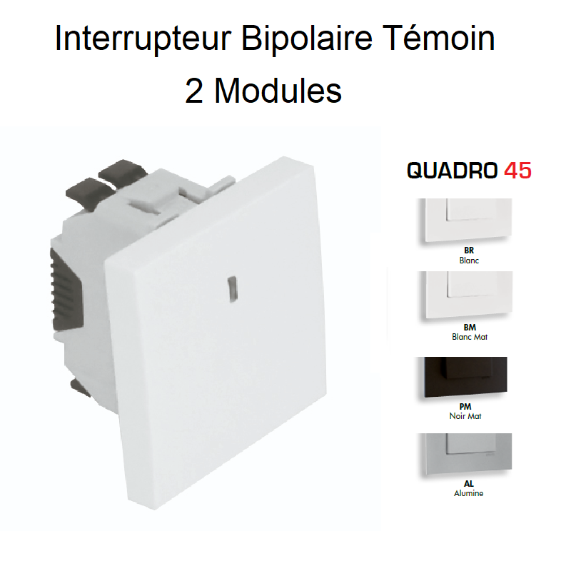 Interrupteur Bipolaire Témoin Semi-Assemblé QUADRO45 - 2 Modules