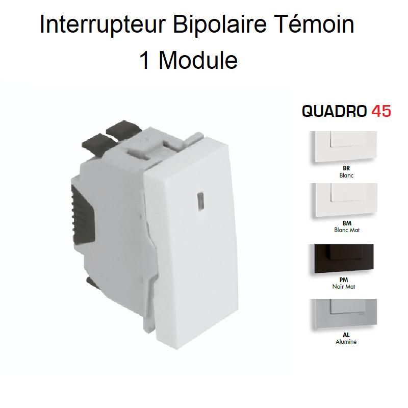 Interrupteur Bipolaire Témoin Semi-Assemblé QUADRO45 - 1 Module