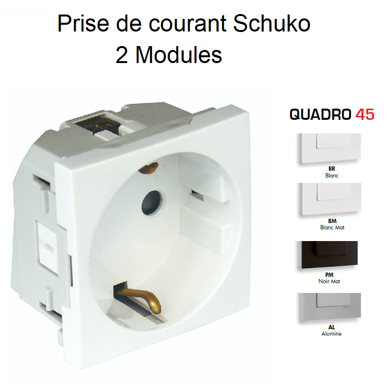 Prise de courant Schuko Bornes Auto avec protection - 2 Modules QUADRO 45
