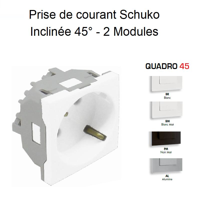 Prise de courant Schuko inclinée à 45° avec protection - QUADRO 45
