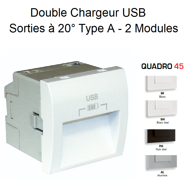 Double Chargeur USB Sorties à 20° Type A - 2 Modules Quadro 45