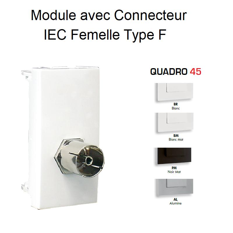 Module avec Connecteur IEC Femelle Type F - 1 Module QUADRO 45